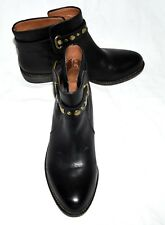 Lucky Brand Black Leather Studded Buckle Strap Womens Moto Ankle Boots Sz 6 M