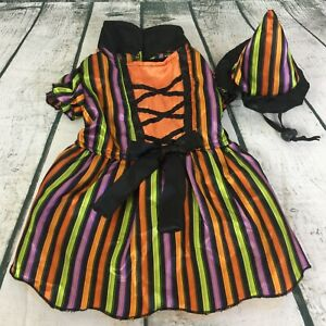 Halloween Striped Witch & Hat Pet Dog Costume Size Small 7-12 lbs / 10-13 inch