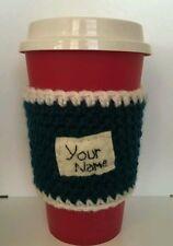 Hand made personalised travel mug cosy