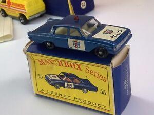Matchbox vintage #55 Blue Ford Fairlane Police Patrol Car In Original Box