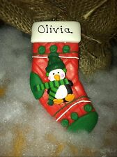 RUSTIC PENGUIN STOCKING CHILD SAFE ORNAMENT personalizable NEW