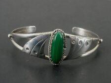 Malachite Green Stone Signed LL Sterling Silver 925 Cuff BRACELET