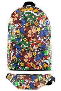 Difuzed Nintendo Rucksack - Super Mario Charaktere  + Gürteltasche Bauchtasche