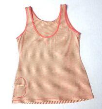 Lole Misses XL athletic tank top key pocket stretch ruched stripe yellow orange