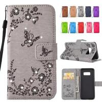 Glitter Floral Stand Leather Card Wallet Magnetic Case Cover For iPhone 8 7 6s 5