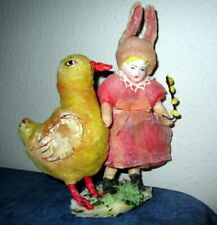 Antique cotton Easter bunny with chick /ornament/ girl -Germany