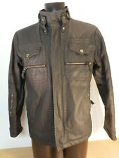 Mens FIRETRAP Motorman Black Waxed Cotton Boker Jacket Fully Lined Small