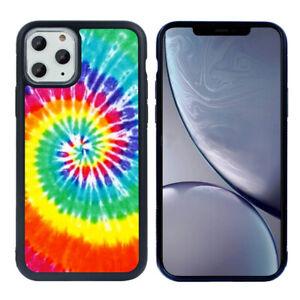 "Rainbow Tie Dye Hybrid Pattern Black TPU Phone Case for iPhone 11 Pro Max 6.5"""