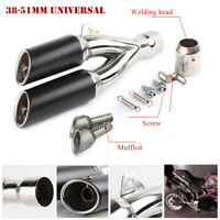 38-51mm Motorcycle Scooter Double Outlet Exhaust Muffler Pipe Removable Silencer