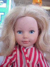 Tomy Doll With Red White Vintage Outfit Blond Hair Blue Eye