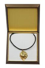 Polish Lowland Sheepdog - gold plated necklace with dog, in box, Art Dog Usa