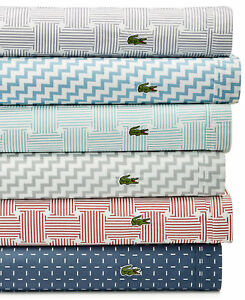 Lacoste Bedding Printed 100% Cotton Percale 2 KING Pillowcases Herringbone F273