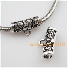 10 New Tibetan Silver Flower Charms European Bail Beads Fit Bracelet 10.5x19.5mm
