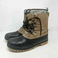 Sorel Mens Duck Boots Buffalo Waterproof Brown Black Leather Lace Up Lined 10 M