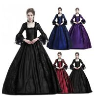 Womens Victorian Medieval Vampire Party Fancy Dress Gothic Gown Cosplay Costume