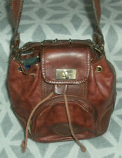 Vintage Valentino Di Paolo Brown Genuine Leather Shoulder Tote Bag Boho Festival