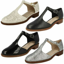 Clarks T Bars 100% Leather Flats for Women