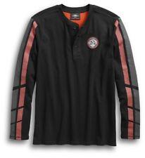 Harley Davidson Men's Dual Stripe Henley Long Sleeve T-shirt 96550-19VM Black