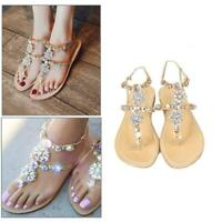 Bling Women Rhinestone Sandals Shoes Chain Summer Flip Flops Beach Flat T-strap