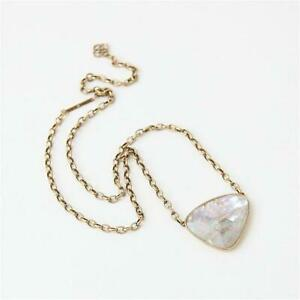 Kendra Scott Mckenna Vintage Gold Pendant Necklace in White Abalone