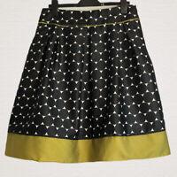 M&S Portfolio Skirt Size 12 Navy & Sage Green Large Polka Dots Lined