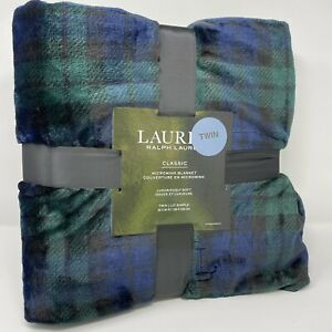 "Ralph Lauren Classic TWIN Micromink Blanket Plaid Green/Blue 66""x90"""