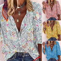 Womens Boho Vintage Print V Neck Shirts Tops Ladies Buttons Casual Loose Blouse