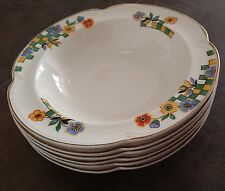"6 Raro Antiguo Art Deco (1920s) Inglés Johnson Brothers ""pareek"" tazones de fuente de China"