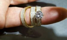 rings with cz stones 14k yellow engagment & wedding