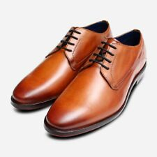Bugatti Mens Formal Lace Up Shoes in Cognac Brown