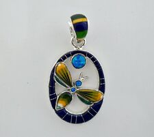 Stunning Opal Lapiz Multicolor Onyx Spiny Inlay .925 Sterling Dragonfly Pendant