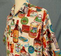 Cactus Black Label Hawaiian Shirt Mens XXL Vintage Button Up Beer Bottles Beer