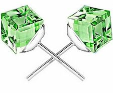 GirlZ! Fashion Water Cube Crystal Stud Earrings - Green
