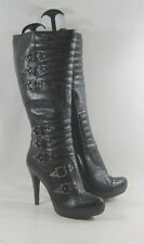 "new ladies Cleopatra Black 4.5"" High Heel Side Buckles Sexy Knee Boots Size 10"