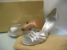 Auth SERGIO ROSSI Silver Leather  Shoes, 3/36 *NEW*