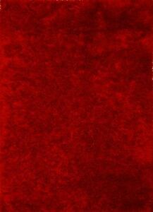 India Hand Woven Mars Red Color Polyester 8X10 Feet Solid Shag Rug