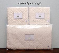 New Pottery Barn Washed Velvet Silk F/Q Full/Queen Quilt+2 Standard Shams Ivory