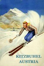 170077 Ski Skiing Kitzbuhel Austria Lady Decor LAMINATED POSTER DE