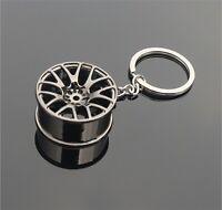 Gun Black Cool Luxury Metal Keychain Car Key Chain Wheel Pendant For Man Women