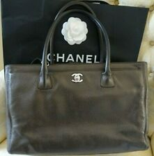 CHANEL BROWN METALLIC  XL CERF EXECUTIVE SHOPPER TOTE BAG