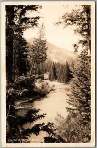 Vintage GALLATIN River, Montana RPPC Photo Postcard Panorama River View / unused