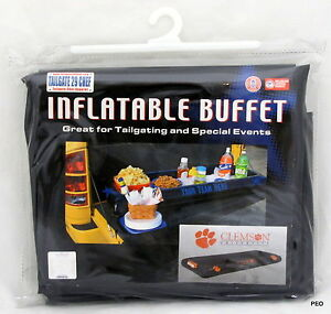 """Clemson Tigers Inflatable Buffet 55"""" X 23"""" Block Party Football Tailgate Table"""