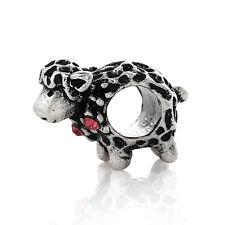 Sheep Animal Pink Rhinestone October Birthstone Bead for European Charm Bracelet