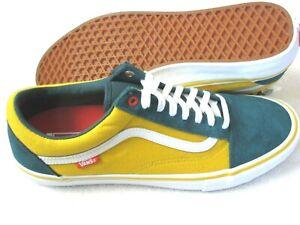 Vans Mens Old Skool Pro Prime Atlantic Gold Yellow Green Skate Shoes Size 10.5
