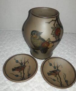 """Vintage Hjorth 6"""" Bird Vase and Miniature Decorative Plates"""