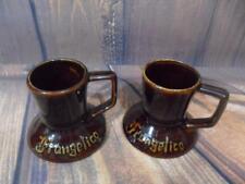 2 Vintage FRANGELICO Wide Bottom No Spill Travel Ceramic Coffee Mug Cup