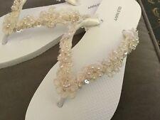 Wedding Shoes Sandals Flip Flops Ivory Beaded Size 9/10