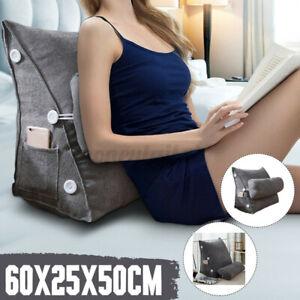 Ergonomisches Rückenkissen mit Nackenrolle Keilkissen Grau 60cm Für Sofa Bett