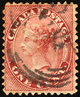 Early Canada #14 1d Rose Queen Victoria 1859 Used Rare