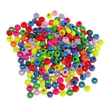 200 Pcs Multicolored Wooden Loose Spacer Beads Oval Charms Beads DIY Crafts